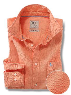 Chelsea Orange Cotton Casual Solids Seersucker Shirt