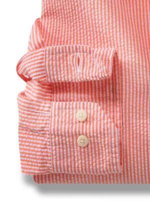 Liverpool Orange Cotton Casual Stripes Seersucker Shirt