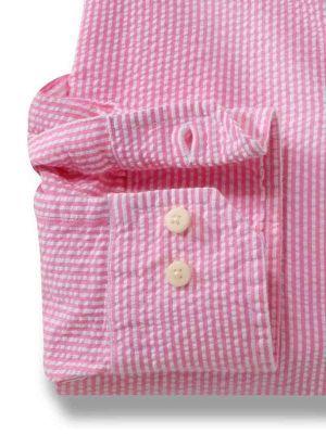 Liverpool Pink Cotton Casual Stripes Seersucker Shirt
