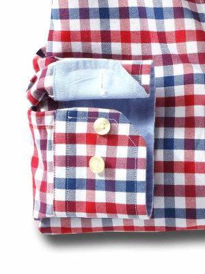 Natadola Red Cotton Casual Checks Shirt