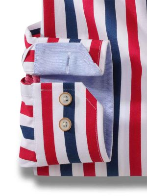Newcastle Red Cotton Casual Stripes Shirt
