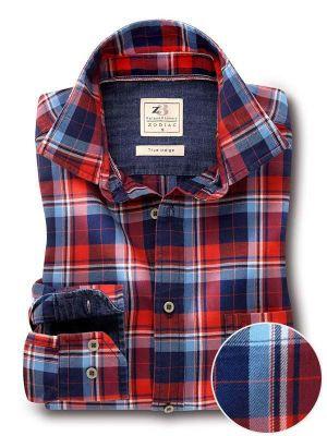 Hugh Indigo Red Cotton Tailored Fit Casual Checks Shirt