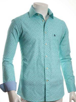 Maho Sea Green Cotton Casual Prints Shirt