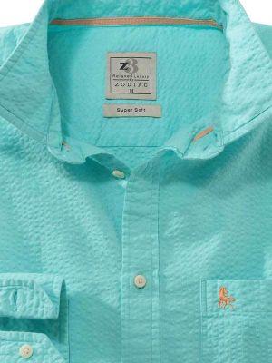 Chelsea Sea Green Cotton Casual Solids Seersucker Shirt