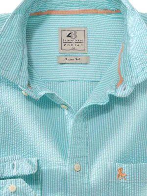Liverpool Sea Green Seersucker Stripe Shirt