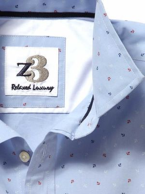 Anchors Sky Cotton Casual Prints Shirt