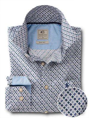 Starfire Teal Cotton Casual Prints Shirt