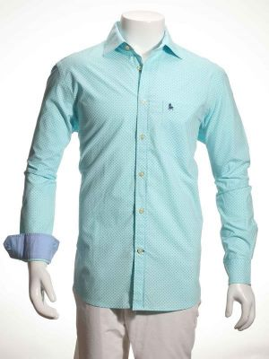 Andre Turquoise Cotton Casual Printed Shirt