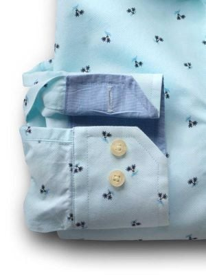 Islands Turquoise Cotton Casual Prints Shirt