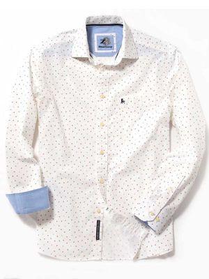 Anchors White Cotton Casual Printed Shirt