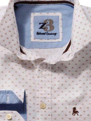 Snail White Cotton Casual Printed Shirt