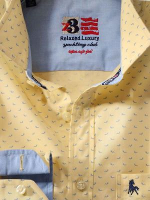 Dove Yellow Cotton Casual Printed Shirt