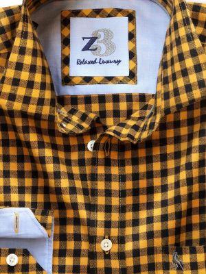Howard Yellow Cotton Casual Checks Shirt