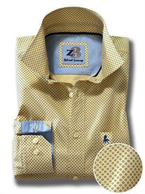 Barca Yellow Cotton Casual Prints Shirt