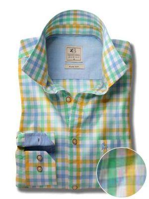 Arsenal Yellow Cotton Casual Checks Shirt