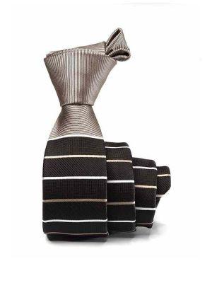 ZT-302 Striped Black Skinny Tie