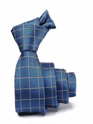 ZT-297 Checks Blue Skinny Tie