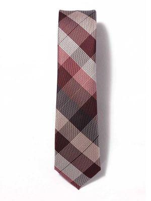 ZT-256 Burgundy Blue Skinny Tie