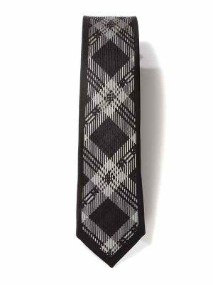 ZT-296 Checks D Grey Skinny Tie