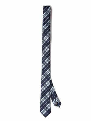 ZT-298 Checks Navy Skinny Tie