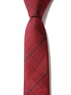 ZT-295 Checks Red Skinny Tie