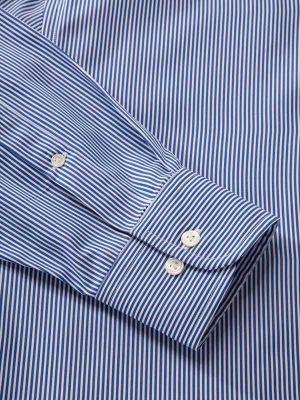 Barboni Blue Cotton Classic Fit Formal Striped Shirt