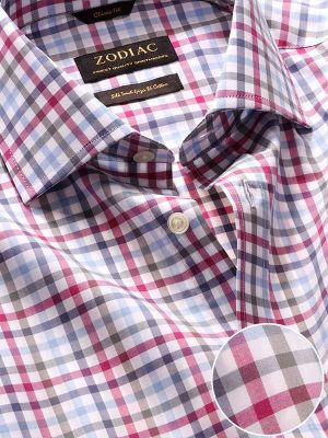 Barboni Pink Cotton Classic Fit Formal Checks Shirt