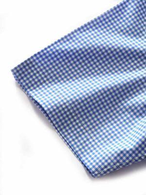 Barboni Blue Cotton Tailored Fit Formal Checks Shirt