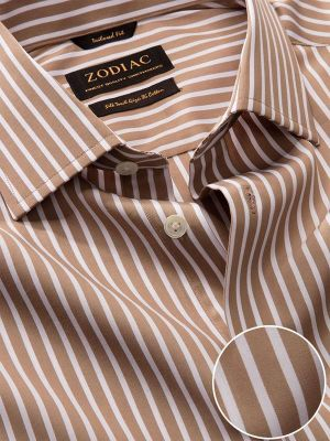 Barboni Beige Cotton Tailored Fit Formal Striped Shirt