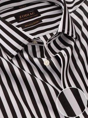 Barboni Black & White Cotton Classic Fit Formal Stripes Shirt