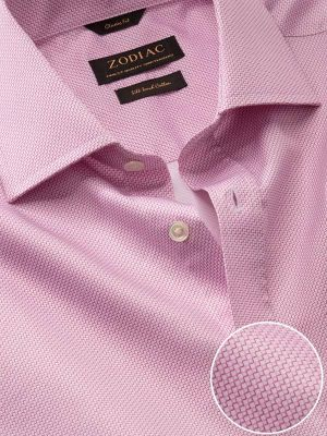 Bassano Pink Cotton Classic Fit Formal Prints Shirt