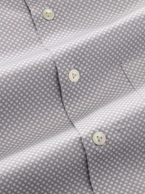 Bassano Light Grey Cotton Tailored Fit Casual Prints Shirt