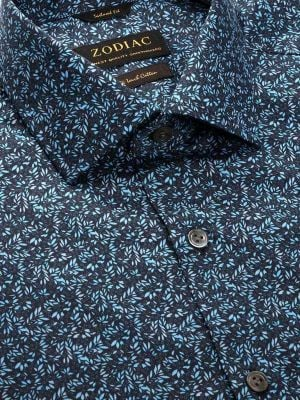 Bassano Turquoise Cotton Tailored Fit Casual Prints Shirt
