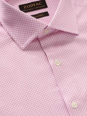 Bassano Pink Cotton Tailored Fit Casual Prints Shirt