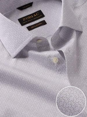 Bassano Light Grey Cotton Tailored Fit Formal Printed Shirt