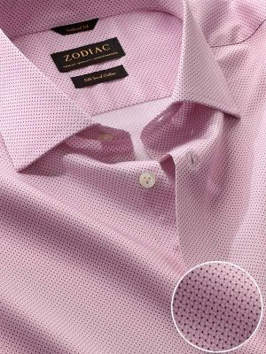 Bassano Pink Cotton Tailored Fit Formal Prints Shirt