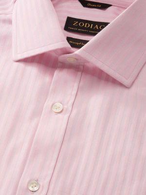 Bertolucci Pink Cotton Classic Fit Formal Stripes Shirt