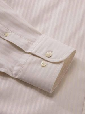 Bertolucci Cream Cotton Classic Fit Formal Stripes Shirt