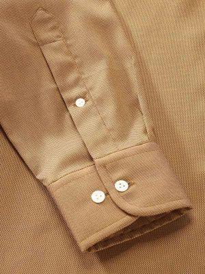 Marzeno Ochre Cotton Classic Fit Casual Solids Shirt