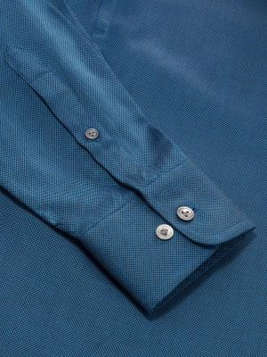 Marzeno Navy Cotton Tailored Fit Casual Solids Shirt