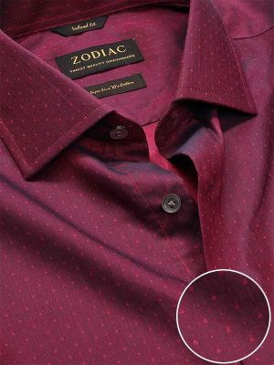 Bramante Maroon Cotton Classic Fit Formal Solids Shirt
