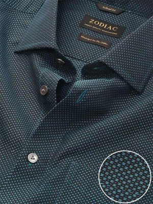 Bruciato Teal Cotton Tailored Fit Evening Solid Shirt