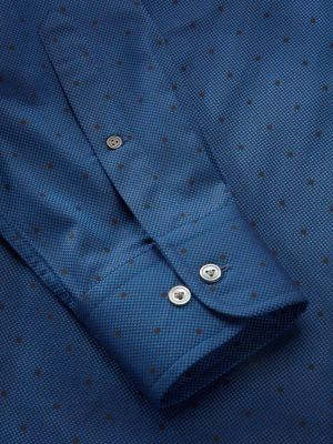 Bruciato Navy Cotton Classic Fit Evening Solids Shirt