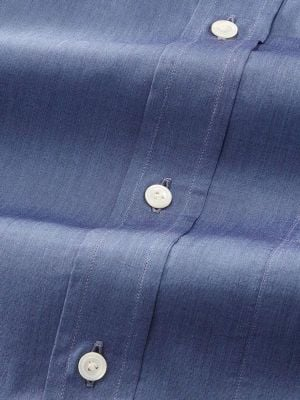 Carletti Blue Cotton Classic Fit Formal Solid Shirt
