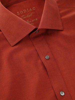 Carletti Rust Cotton Classic Fit Formal Solids Shirt