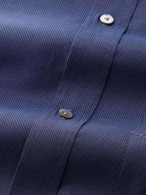 Carletti Navy Cotton Classic Fit Formal Solids Shirt