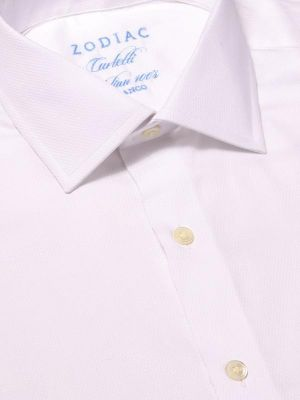 Carletti White Cotton Tailored Fit Formal Solid Shirt