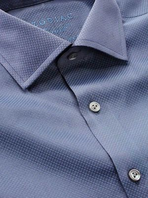 Carletti Navy Cotton Tailored Fit Formal Solids Shirt