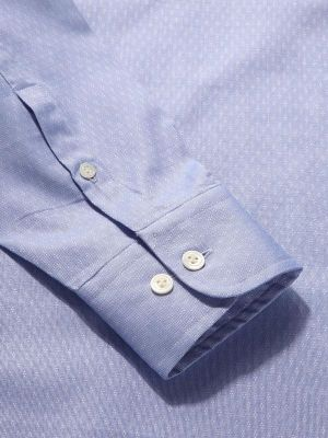 Carulli Blue Cotton Tailored Fit Formal Solids Shirt