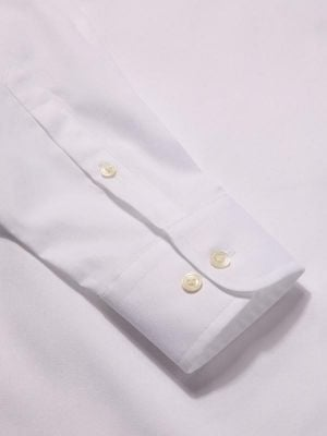 Carulli White Cotton Tailored Fit Formal Solids Shirt